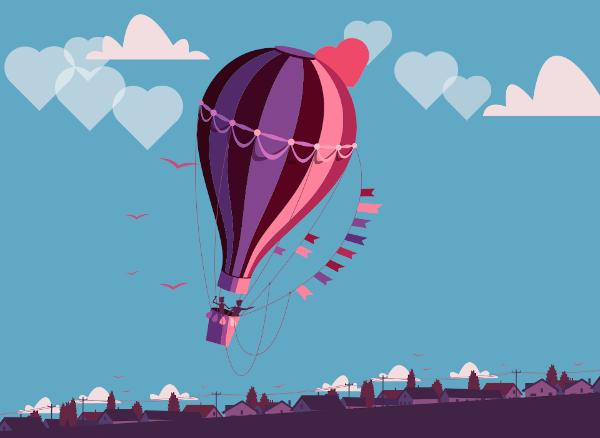 Pora skrendanti oro balionu dviese, pieštinis