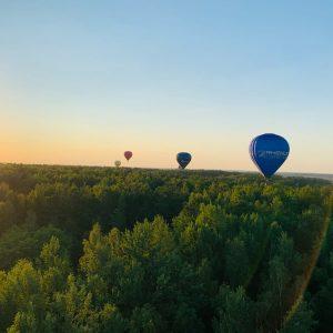 Oro balionai skrenda virš miško saulėlydis